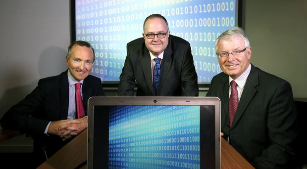 Adrian Doran, head of corporate banking at Barclays, with (from left) Mike Harris of Grant Thornton and Nigel Smyth of the CBI