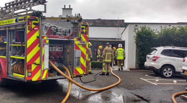 Fire at Galgorm Resort and Spa on Tuesday morning. Cullybackey. Picture North East News. Nevin Farrell