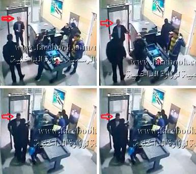 Handout CCTV footage posted on the official Facebook page of Egypt's Ministry of Interior showing alleged hijacker Seif Eldin Mustafa passing through security at Alexandria before boarding EgyptAir MS181.Ministry of Interior /PA Wire