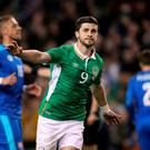 Republic of Ireland's Shane Long celebrates scoring his side's second goal of the game from the penalty spot during an International Friendly at the Aviva Stadium, Dublin. PA