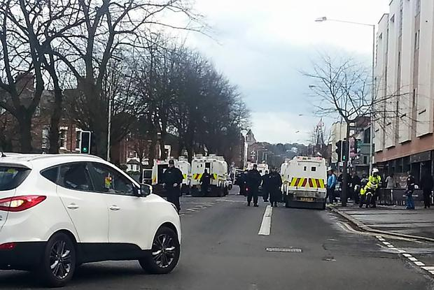 Police at the scene of the disturbance on the Ormeau Road.