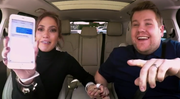 Jennifer Lopez takes part in James Corden's Carpool Karaoke.