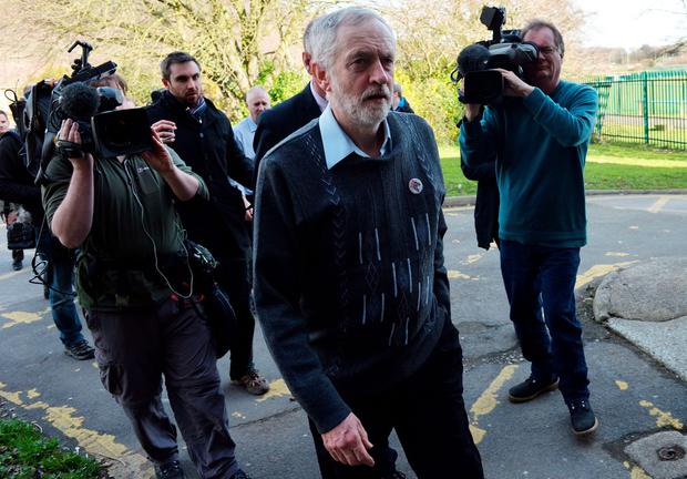 Labour Party leader Jeremy Corbyn arrives at the Tata sports and social club to meet with union representatives and Tata steel workers close to the company's works at Port Talbot, south Wales, on March 30, 2016. AFP/Getty Images