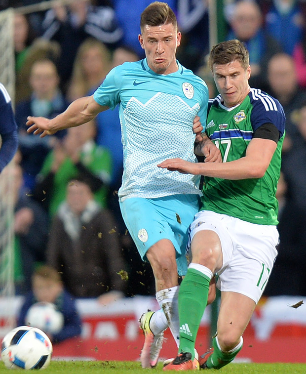 Running the show: Paddy McNair excelled in the holding midfield position against Slovenia