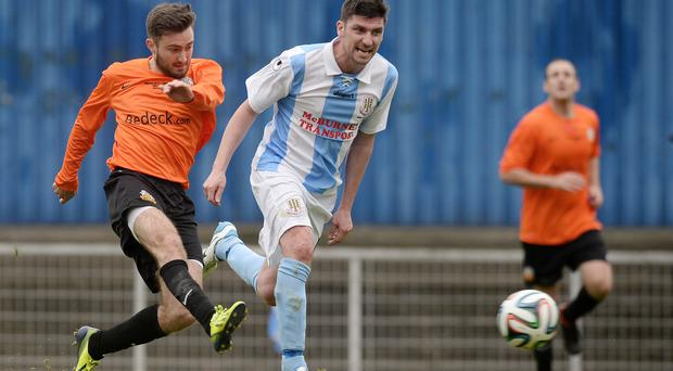 Decisive moment: Mark Patton (left) nets the winner for Glenavon in the 2014 Irish Cup final against Ballymena United