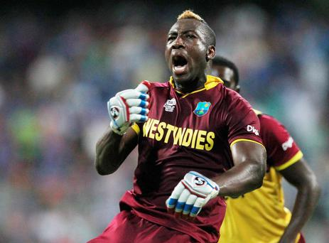 How's that: Andre Russell celebrates West Indies win