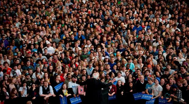 Democratic presidential candidate US Sen. Bernie Sanders (D-VT) speaks to supporters at the David L. Lawrence Convention Center on March 31, 2016 in Pittsburgh, Pennsylvania. Sanders and opponent Hillary Clinton are campaigning ahead of the April 26 primary in Pennsylvania. (Photo by Jeff Swensen/Getty Images)