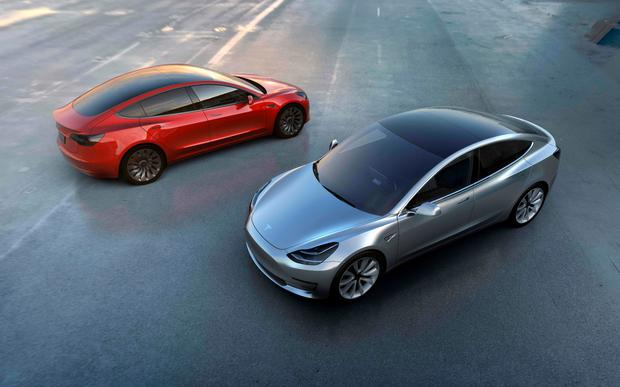 Tesla Motors shows the car manufacturer's new Model 3 which was unveiled on March 31 2016. AFP/Getty Images