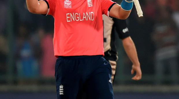 Final countdown: Joe Root celebrates after England's semi-final win over New Zealand