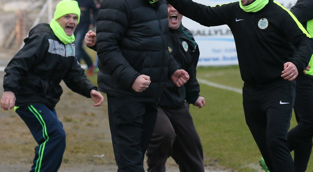 Miracle workers: Lurgan Celtic boss Colin Malone (centre) starts the celebrations after his side's stunning Irish Cup win over Portadown