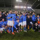 Glenavon celebrating the win during the Irish Cup semi-final at Windsor Park on March 30, 2016 Belfast, Northern Ireland ( Photo by Kevin Scott / Presseye )