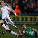 Getting shirty: Connacht's Matt Healy attempts to put the brakes on Ulster's Craig Gilroy at the Kingspan last night