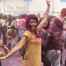 PACEMAKER BELFAST 03/04/2016 Thousands of revellers threw off their inhibitions in the Titanic Exhibition Centre on Sunday as they joined in the joyous Indian Custom of throwing multi-couloured dyes in exuberant celebration of Holi and the arrival of spring. Picture Matt Bohill Pacemaker