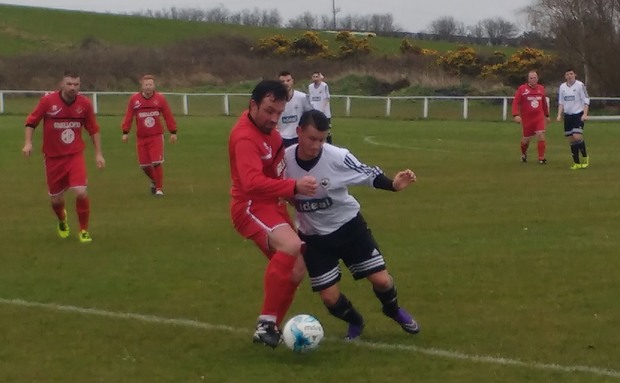 Action from Groomsport v Iveagh United