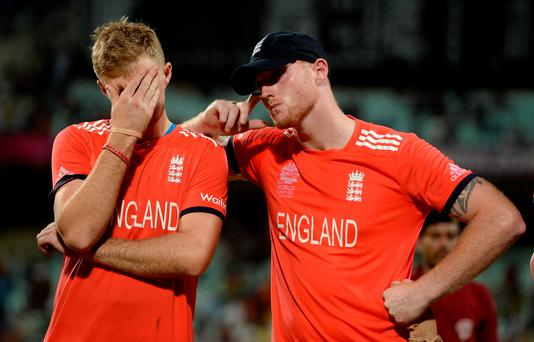 Sad day: Joe Root and Ben Stokes of England react after losing the ICC World Twenty20