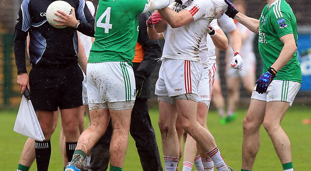 Face off: Things get heated between Fermanagh and Tyrone at Brewster Park