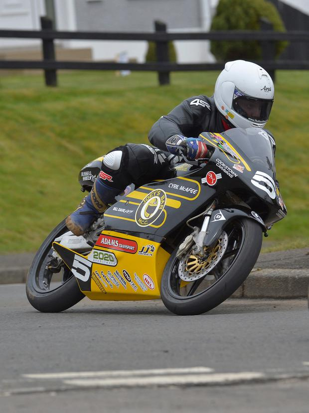 On the road: Gary Dunlop makes his road racing debut at the Mid Antrim 150