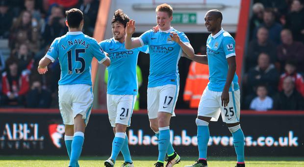 Kevin de Bruyne (No 17) celebrates Man City's second goal against Bournemouth