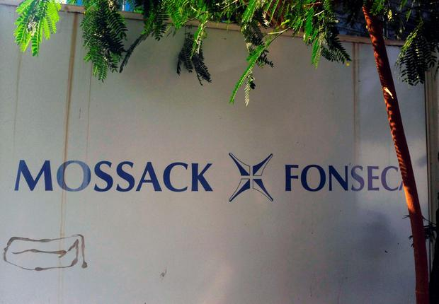 View of a sign outside the building where Panama-based Mossack Fonseca law firm offices are placed in Panama City on April 3, 2016. AFP/Getty Images