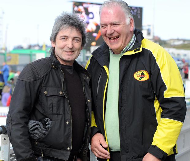 Support: Brian McGrath of sponsors SGS International and Clerk of the Course Bill Kennedy look forward to the Armoy races
