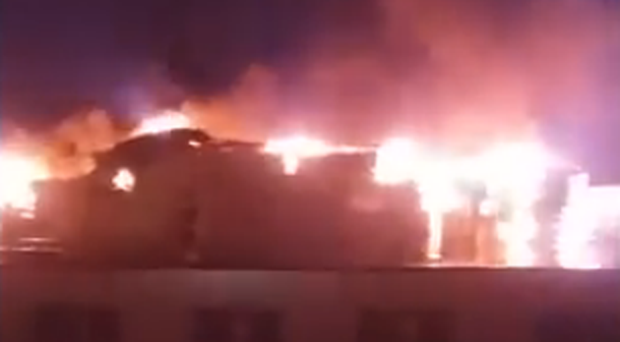 Fire at Holy Child Primary School. Pic: Youtube John Gerard Gill