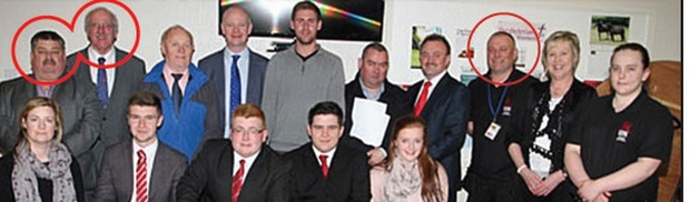 Ex-INLA man Gerard Forward (circled right) was snapped with DUP politicians Jim Shannon and Billy Walker (circled left)