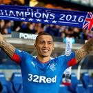 Rangers' James Tavernier celebrates after the Ladbrokes Scottish Championship match at Ibrox Stadium, Glasgow. PA