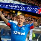 Just champion: James Tavernier celebrates after scoring the goal that ended Rangers' four-year absence from the Scottish Premiership
