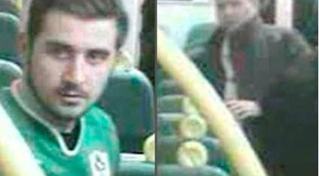 Police are seeking two men in relation to an attack in London. Pic: British Transport Police