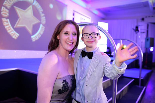 Man of the moment: Jay Beatty with The Fall star Bronagh Waugh at the 2015 awards. Pic by Kelvin Boyes / Press Eye.