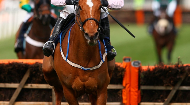 Power-ful performance: Ruby Walsh, who will ride Sir Des Champs in tomorrow's Grand National, steers Annie Power to victory in yesterday's Aintree Hurdle