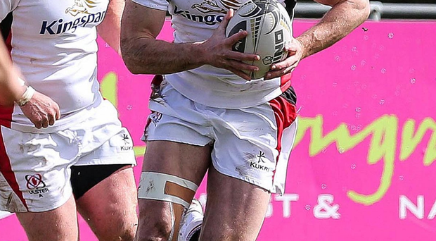 On the ball: Tommy Bowe was in action for Ulster A yesterday for his first game in almost six months