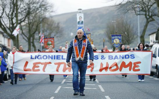 Picture - Kevin Scott / Presseye Belfast , UK - April 07, Pictured is Gerald Solinas the 1000th day parade held at Twaddell in North Belfast on April 07, 2016 Belfast, Northern Ireland ( Photo by Kevin Scott / Presseye )