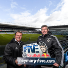 It's a knockout: Former Northern Ireland internationals Jim Magilton and Norman Whiteside help launch Red Bull Neymar Jr's Five, a unique knockout five-a side-football tournament, at Windsor Park yesterday
