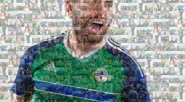 Can you spot yourself in this fan mosaic of Stuart Dallas? Picture: @northernireland