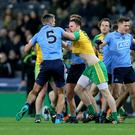 Ready for battle: Donegal's Martin McElhinney and James McCarthy of Dublin will face off again
