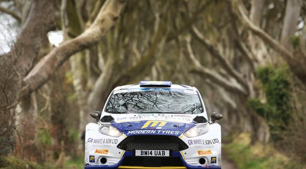 Scenic route: Alastair Fisher takes in the Dark Hedges during the Circuit of Ireland rally