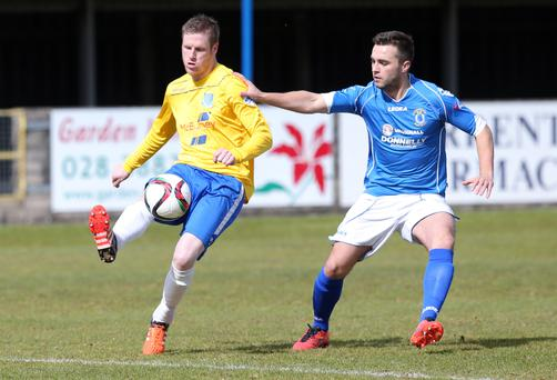 Darren Henderson, left, scored twice for Ballymena against Dungannon