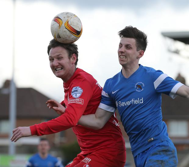 Gary Twigg, left, came closest to scoring for Portadown against Ballinmallard