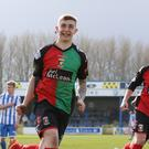 Glentoran's Jonathan Smyth celebrates after scoring his team's late equaliser from the penalty spot