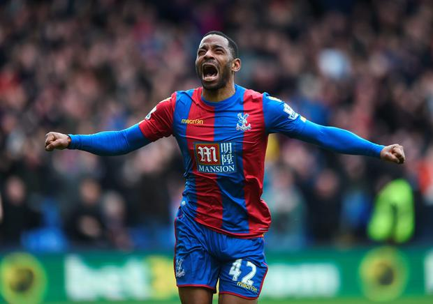 Jason Puncheon celebrates Crystal Palace's winning goal against Norwich