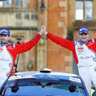 Craig Breen and his Co-Driver Scott Martin take victory in their Citroen DS3 R5 at Queens University in Belfast, Northern Ireland. Photo by Kevin Scott / Presseye
