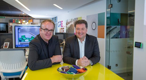 Pictured is Paul Black (right), CEO, the Alpha Group, and Nick Lyons, Sales Director, Alpha Scotland, at the Alpha Scotland premises in Glasgow.