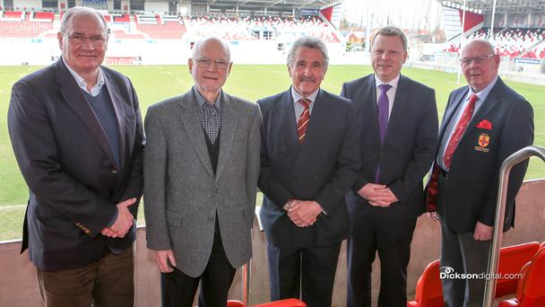 Pitching in: Ulster Rugby CEO Shane Logan, Sir Desmond Rea, PRO12 Chairman Gerald Davies, Alistair Ross MLA and Ulster Branch President Bobby Stewart at the Kingspan Stadium last week