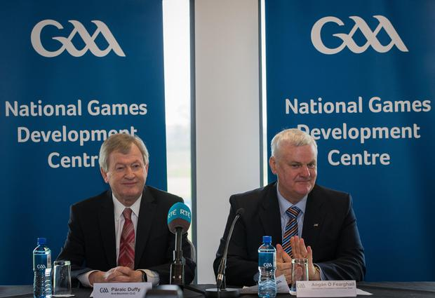 All new: Director General Paraic Duffy and President Aogan O Fearghail unveiled the GAA's National Games Development Centre at Abbotstown in Dublin last week