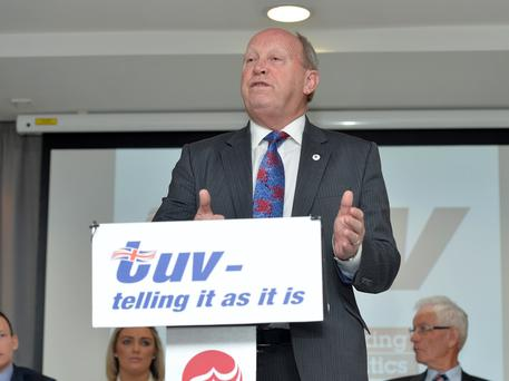 Pacemaker Press 13/4/2016 TUV Leader Jim Allister during the launch of their election manifesto in the Ramada Hotel at Shaw's Bridge Belfast. on Wednesday , ahead of the upcoming election in May. Pic Colm Lenaghan/ Pacemaker
