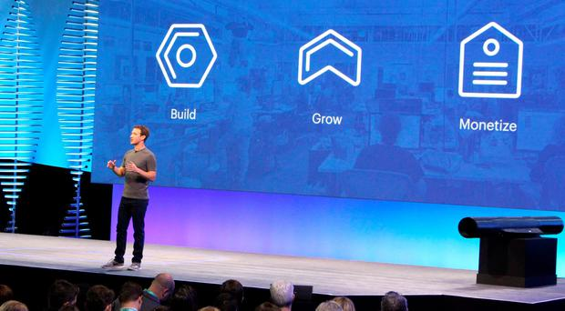 Facebook chief and co-founder Mark Zuckerberg discusses Messenger and other platforms at the leading social network's annual developers conference in San Francisco on April 12, 2016. AFP/Getty Images
