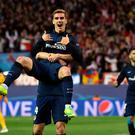 Atletico Madrid's French forward Antoine Griezmann celebrates a goal during the Champions League quarter-final second leg football match Club Atletico de Madrid VS FC Barcelona at the Vicente Calderon stadium in Madrid on April 13, 2016. / AFP PHOTO / GERARD JULIENGERARD JULIEN/AFP/Getty Images