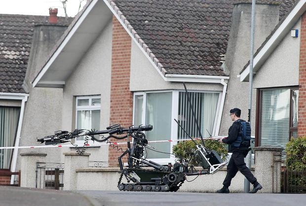 The scene on Cambridge Avenue in Ballymena where a security alert took place on Thursday with Cambridge House Grammar School being evacuated. Picture by Jonathan Porter/PressEye