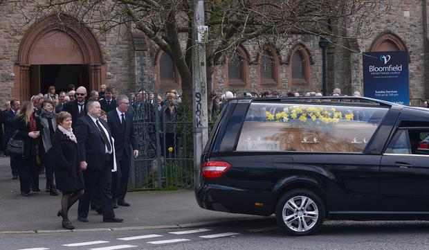 The funeral of Maureen Buchanan, who died in a crash on the M1, has taken place. Her funeral took place at Bloomfield Presbyterian Church in Belfast. Picture By: Pacemaker.
